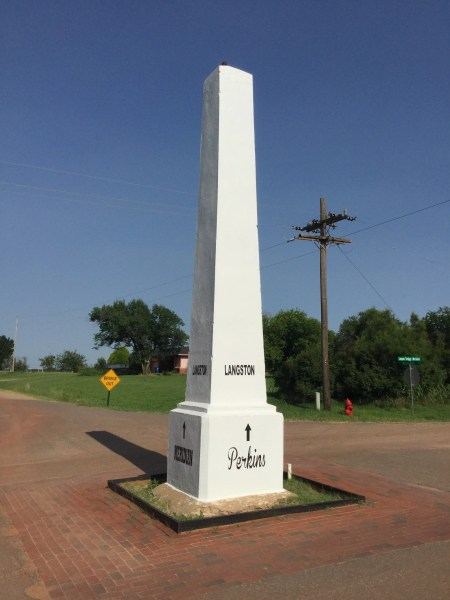 This monolith marks the Indian Meridian and is used for land surveys all across central Oklahoma.