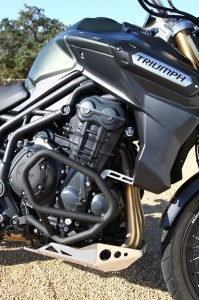 Tubular-steel engine guards and an aluminum skid plate are among the XC's upgrades over the standard Tiger Explorer.