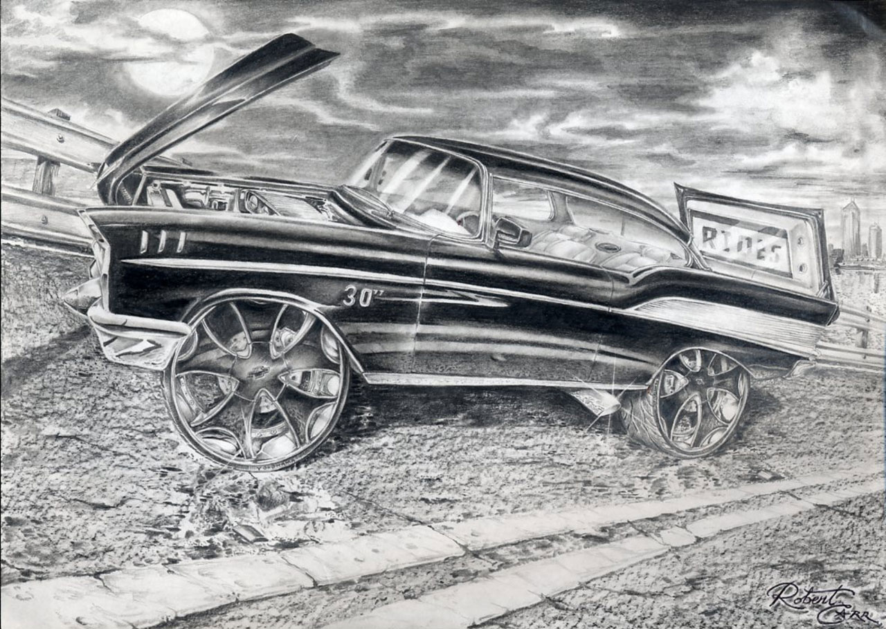 rides cars drawings art robert carr carabelle florida fl bel air chevy
