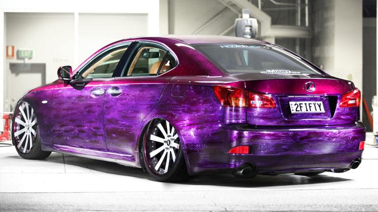 rides magazine purple lexus is forgiato oz slammed bagged custom car