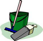 Anitmated photo of a Bucket, Mop/Squeegie and Hand Vacuum