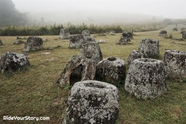 The pre-historic megalithic jars. with some badly damaged by US bombing between 1964 and 1973.
