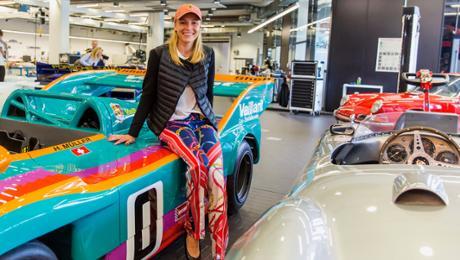 Lady visitors in a Porsche Museum