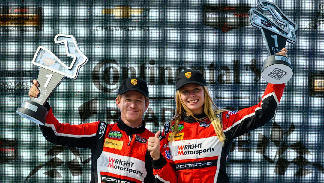 Patrick Long, Christina Nielsen, l-r, Wright Motorsports, IMSA WeatherTech SportsCar Championship, turn 8, race, Elkhart Lake, 2018, Porsche AG