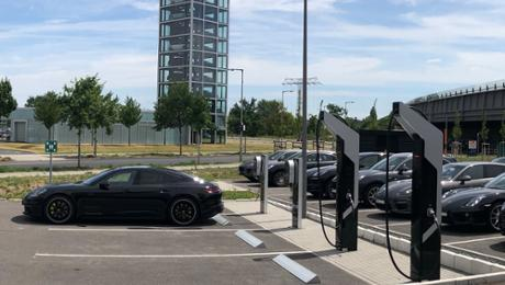 First Porsche quick charging park connected to a grid