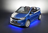 ŠKODA CitiJet is a energetic and expressively designed city-convertible formed on a ŠKODA Citigo. The extraneous facilities particular lead paintwork in blue/white and racy, blue 16-inch amalgamate wheels.
