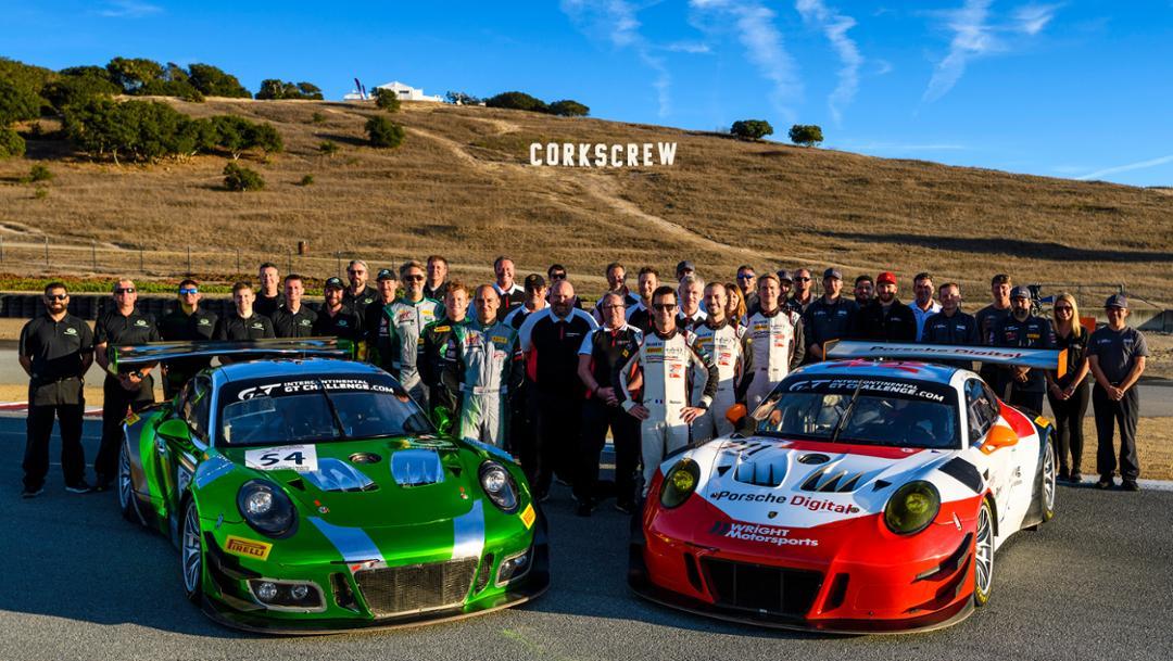 911 GT3 R, Black Swan Racing, Wright Motorsports, l-r, competition 4, Laguna Seca, 2018, Porsche AG
