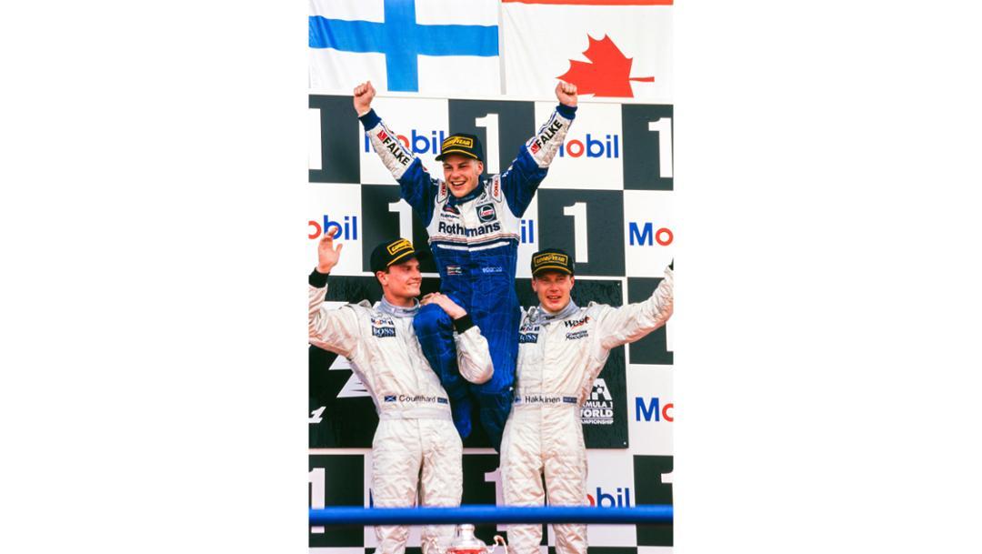 David Coulthard, Jacques Villeneuve, Mika Hakkinen, l-r, 1997, Porsche AG