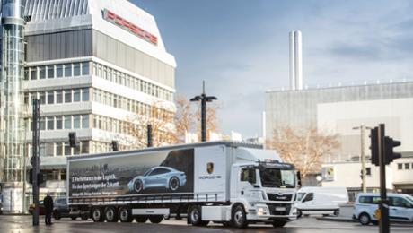 Clean and quiet: Porsche uses electric truck