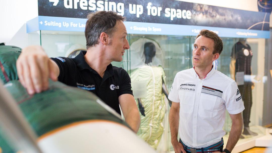 Matthias Maurer, astronaut, Timo Bernhard, racing driver, l-r, European Astronaut Centre, Cologne, 2018, Porsche AG