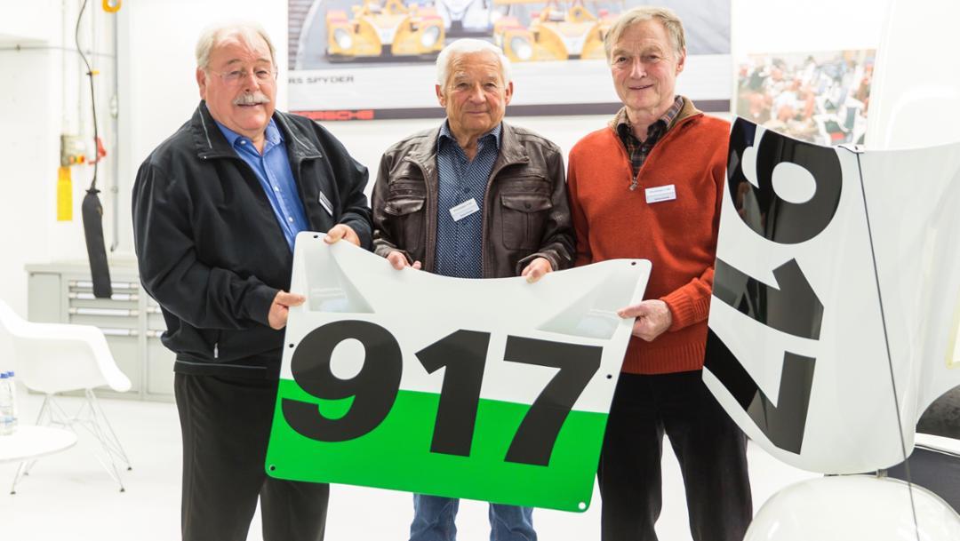 Klaus Ziegler, Roland Bemsel, Gerhard Küchle, l-r, 2019, Porsche AG