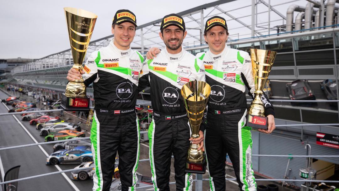 Klaus Bachler, Andrea Rizzoli, Zaid Ashkanani, l-r, Dinamic Motorsport, Blancpain GT Series Endurance Cup, Monza, 2019, Porsche AG