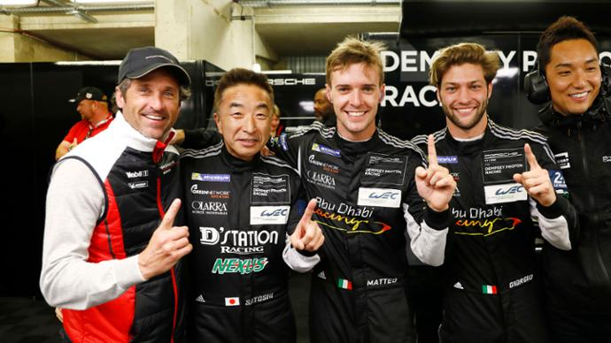 Dempsey Proton Racing (88): Patrick Dempsey, co-owner Dempsey Racing, Satoshi Hoshino, Matteo Cairoli, Giorgio Roda, l-r, Qualifying GTE, FIA WEC, Le Mans, 2019, Porsche AG