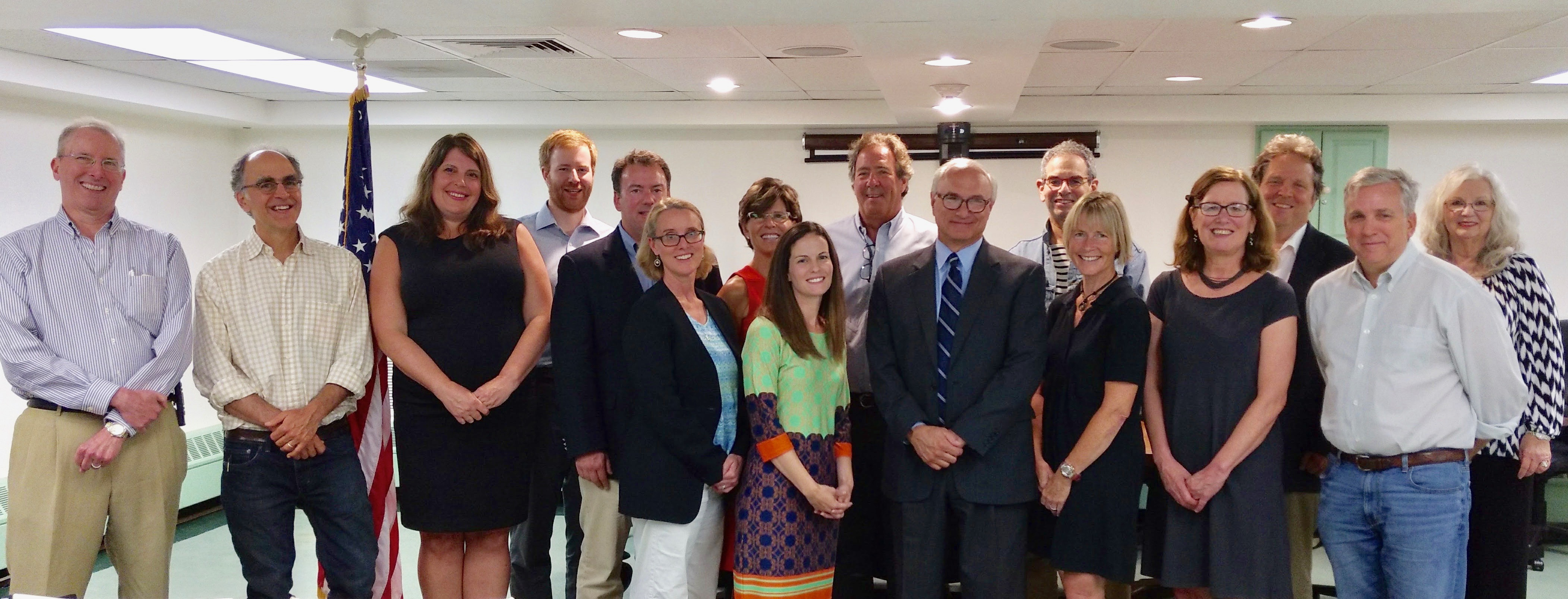 Democrats' 2017 local candidates, pictured with Ridgefield First Selectman Rudy Marconi (left to right): Arny DiLaura, Steve Saloom, Mary Dougherty, Joe Dowdell, Sean Connelly, Amanda Cordano, Amy Macartney Freidenrich, Carina Borgia-Drake, Joe Fossi, Rudy Marconi, Charles Robbins, Margaret Stamatis, Kathleen Holz, Mark Seavy, Doug Silver, Anne Cutter (not pictured: Temi Bova, Terry Bearden-Rettger, and Jeff Lundberg).
