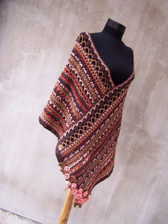 pink brown poncho