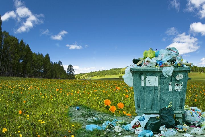 Field with garbage