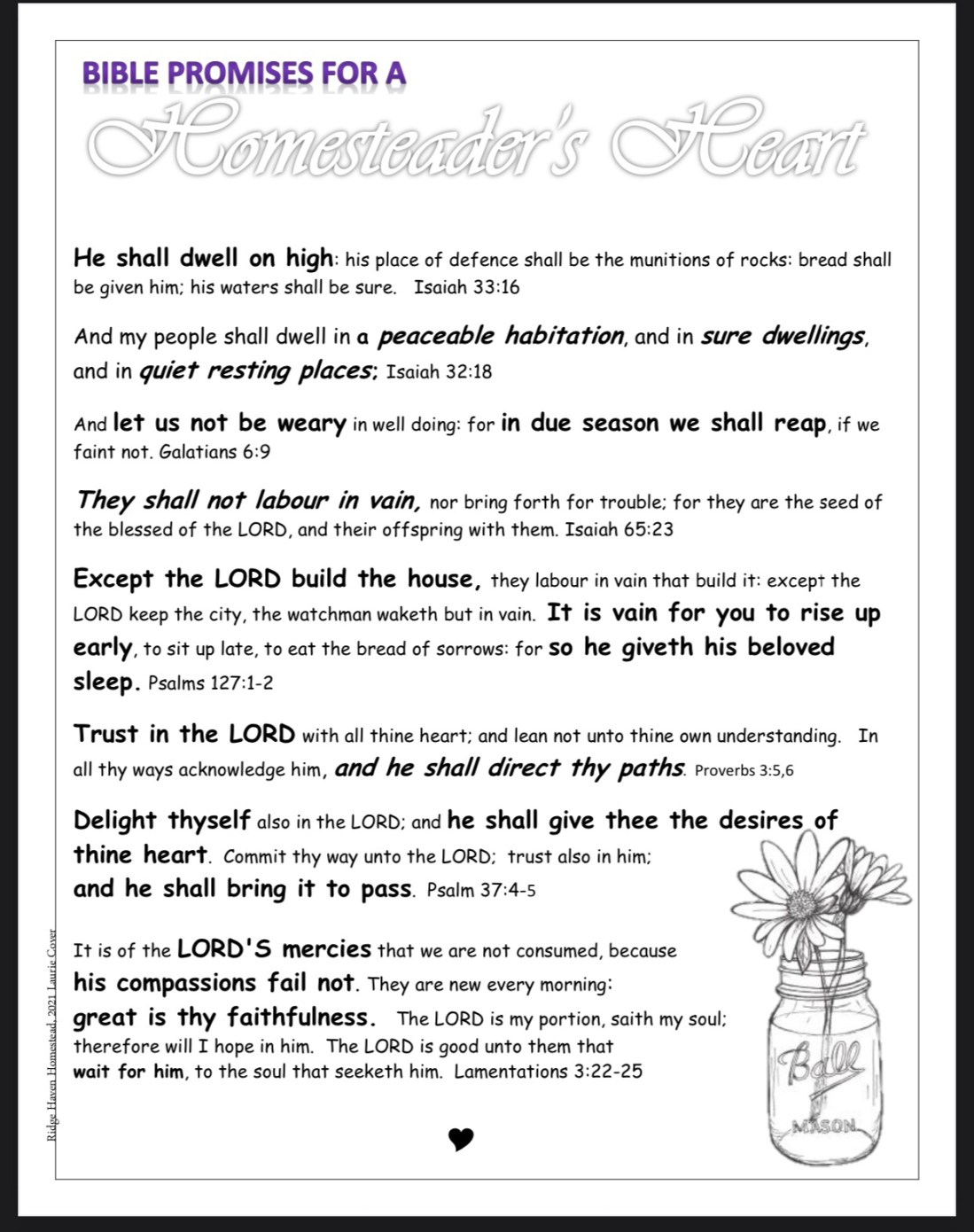 Bible promises for homesteaders