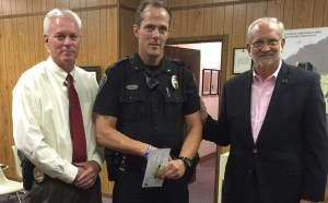 Congratulations to Officer Ben Johnson for being recently recognized as Officer of the Month for the month of May. Officer Johnson's actions are commendable and he is dedicated to keeping the residents of Ridgeland safe. L to R: Police Chief John Neal, Officer Ben Johnson, and Mayor Gene McGee at the July 5 Board Meeting.