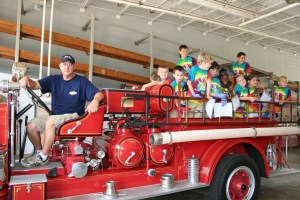 Antique Fire Truck with Fire Academy participants