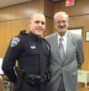 Officer Ryan Ainsworth and Mayor Gene McGee at a recognition ceremony of Officer of the Month held February 18, 2014. Officer Ainsworthy's actions were noted as being commendable and indicative of a professional and motivated officer.