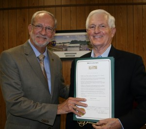 Jerry Williams was recognized at the Mayor and Board of Aldermen Meeting on October 6, 2015 for years of community service as the volunteer manager of the Community Garden that provided fresh vegetables to needy families, involved local youth, and local businesses. Williams also served as President of the Friends of the Ridgeland Library.