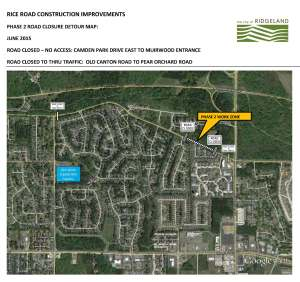 RICE ROAD CONSTRUCTION,  PHASE 2 ROAD CLOSURE DETOUR MAP-5.27.2015