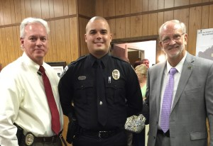 Officer Daniel Stevens was recognized as Officer of the Month for July 2015 at the Mayor and Board of Aldermen Meeting on Sept. 1. His actions are commendable and indicative of a professional and motivated officer.