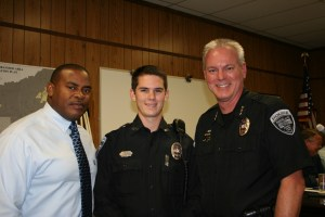 "Two Ridgeland Police Officers were recently promoted and recognized at the Mayor and Board of Aldermen Meeting on Oct. 6, 2015. Nathan ""Tony"" Willridge (left) was promoted to Lieutenant over the Criminal Investigations Division and Kyle Millican (center) was hired as a booking officer and was recently promoted to patrol officer. Chief John Neal (right) presented their promotions to the Mayor and Board."