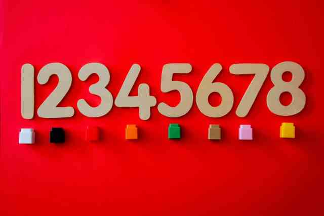 Numbers 1 through 8 on a red background