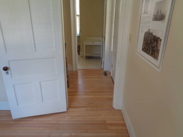 May 8 – from the bedroom looking into the front hall and bathroom