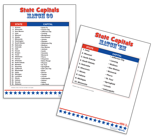 Learning State Capitals 10 Each Week