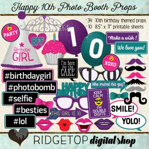 Ridgetop Digital Shop | Photo Booth Props | 10th Birthday | Girl