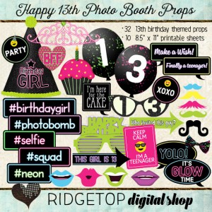 Ridgetop Digital Shop | Photo Booth Props | 13th Birthday | Glow |Girl
