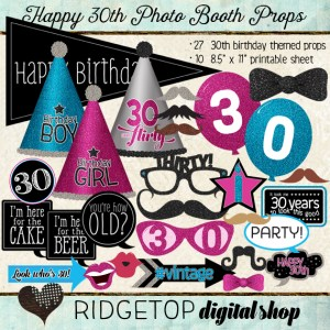 Ridgetop Digital Shop | Photo Booth Props | 30th Birthday