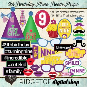 Ridgetop Digital Shop | Photo Booth Props | 9thBirthday