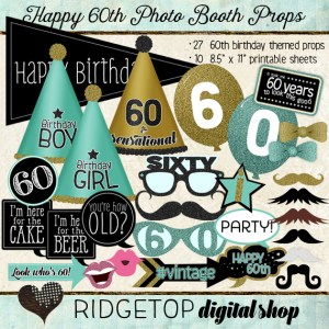 Ridgetop Digital Shop | Photo Booth Props | 60th Birthday | Aqua | Mint | Gold