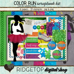 Ridgetop Digital Shop | Scrapbook Kit | Color Run | Jog | Walk |5k | Vibe