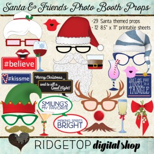 Ridgetop Digital Shop | Photo Booth Props | Christmas | Santa | Elf | Rudolph | Mrs Claus | Reindeer