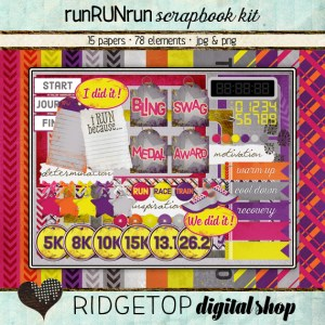 Ridgetop Digital Shop | Scrapbook Kit | runRUNrun | Run | Jog | Walk |5k | 10K | Marathon