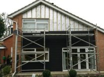 Gable end of the house during the installation