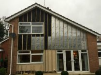 Gable end of the house with the timber batons in place