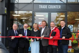 Counsellor Nick Killian and Kevin Stewart, the Economic Development Officer from Meath County Council, Fine Gael TD for Meath East and Government Chief Whip, Minister Regina Doherty cutting the ribbon on the new Ridgeway premises for managing director Stephen Kane, Ronan Weldon and Keith Hennessy for Ridgeway.