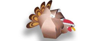 Papercraft imprimible y armable de caja de caramelos del pavo de Navidad. Manualidades a Raudales.