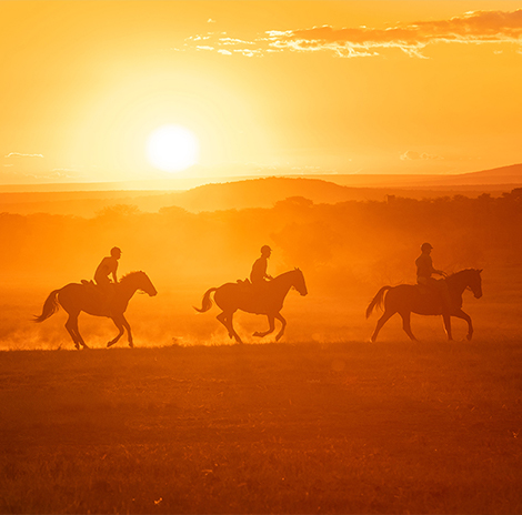 Riders cantering at sunset