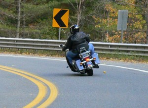Cornering on a big cruiser requires a respect for clearance limits.