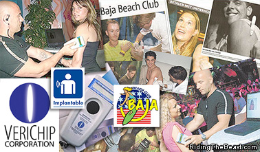 Patrons being injected with the Verichip at the Baja Beach Club, Barcelona, Spain