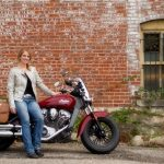 Photo of Leah with her Indian Scout motorcycle.