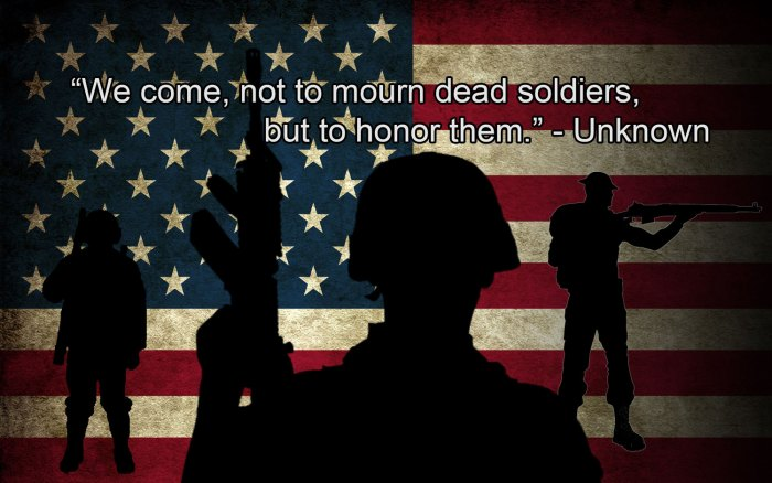 we come not to mourn dead soliders, but to honor them