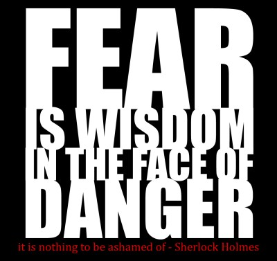 Fear is wisdom in the face of danger. It's nothing to be ashamed of. - Sherlock