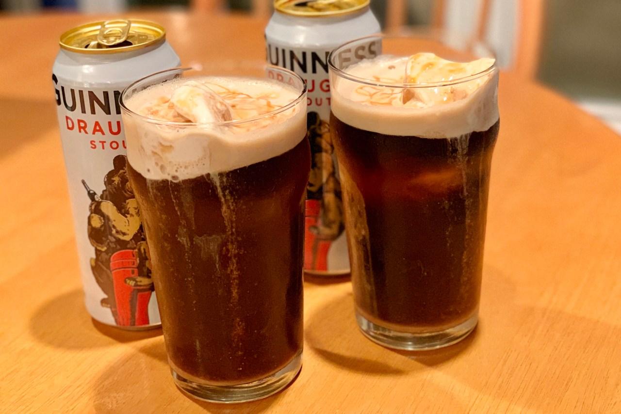 Guinness Ice Cream Float with Irish Whiskey Caramel